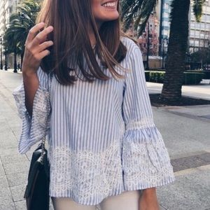 ZARA XS BLUE AND WHITE LACE FLOWY BLOUSE TOP
